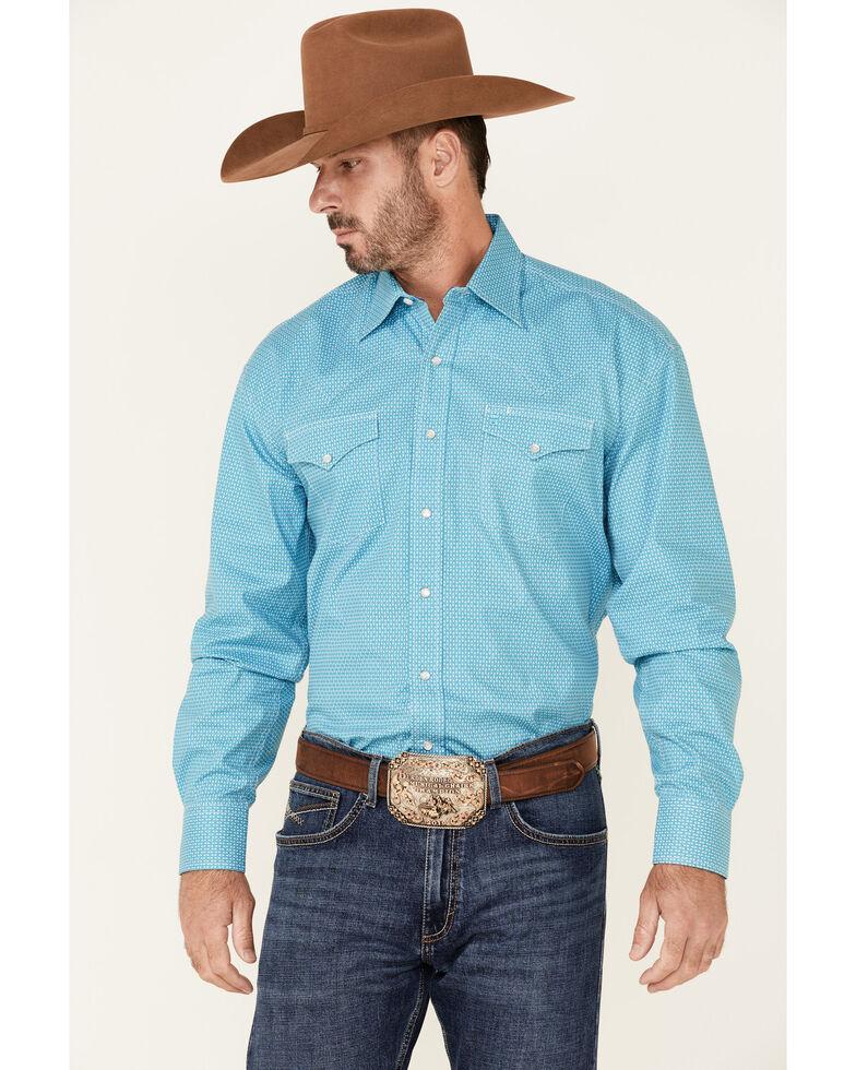 Stetson Men's Cross Oval Geo Print Long Sleeve Snap Western Shirt , Blue, hi-res