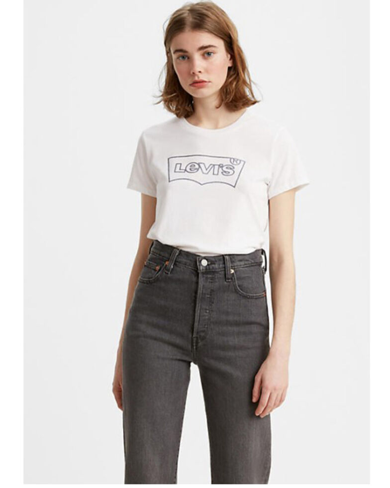 Levi's Women's White Outline Batwing Logo Graphic Tee , White, hi-res