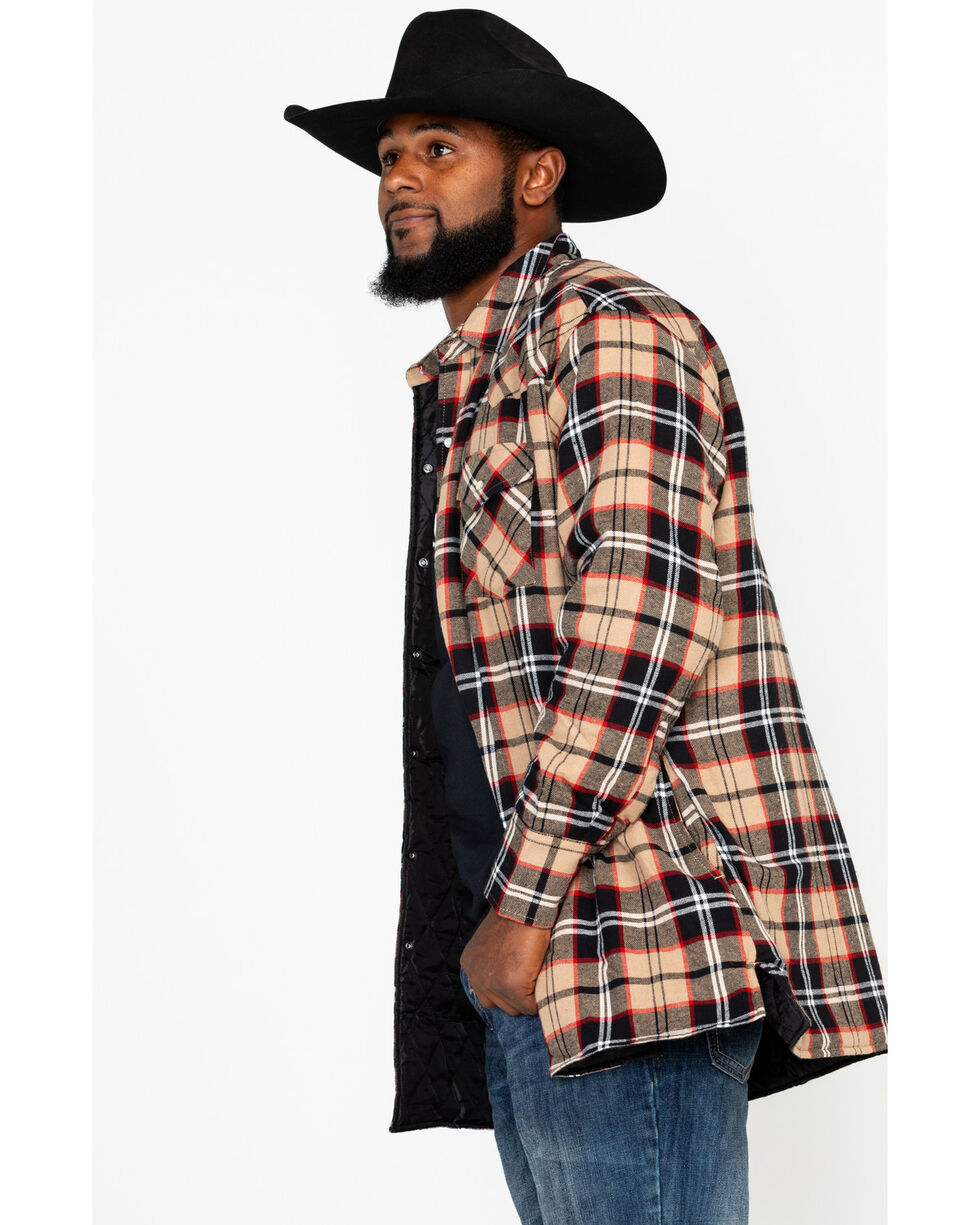 Ely Cattleman Men's Quilted Flannel Long Sleeve Western Shirt - Tall, Brown, hi-res