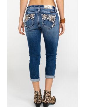 Miss Me Women's Floral Paradise Mid-Rise Capri Jeans , Blue, hi-res