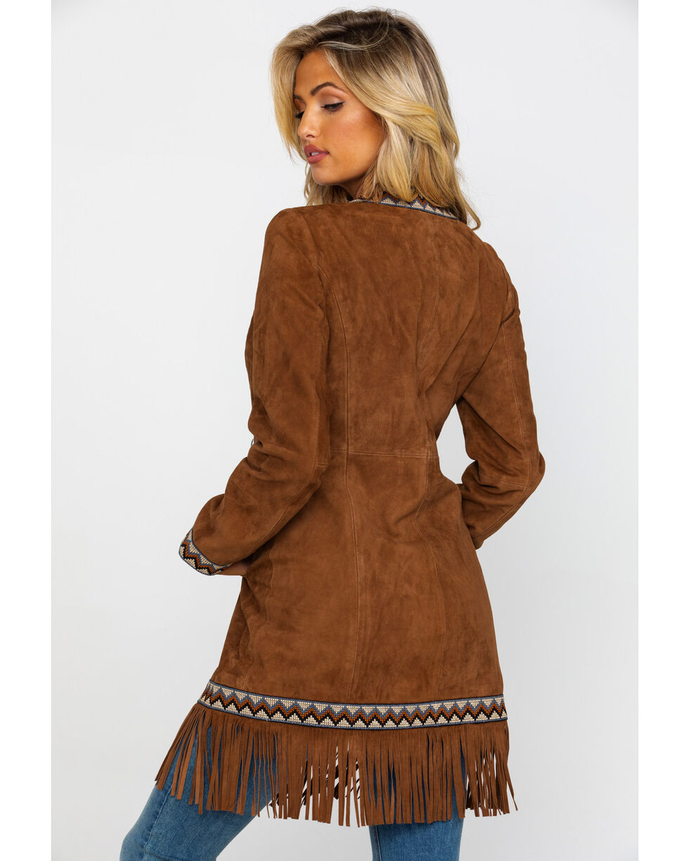 Leatherwear by Scully Women's Cinnamon Boar Suede Embroidered Band Coat, , hi-res