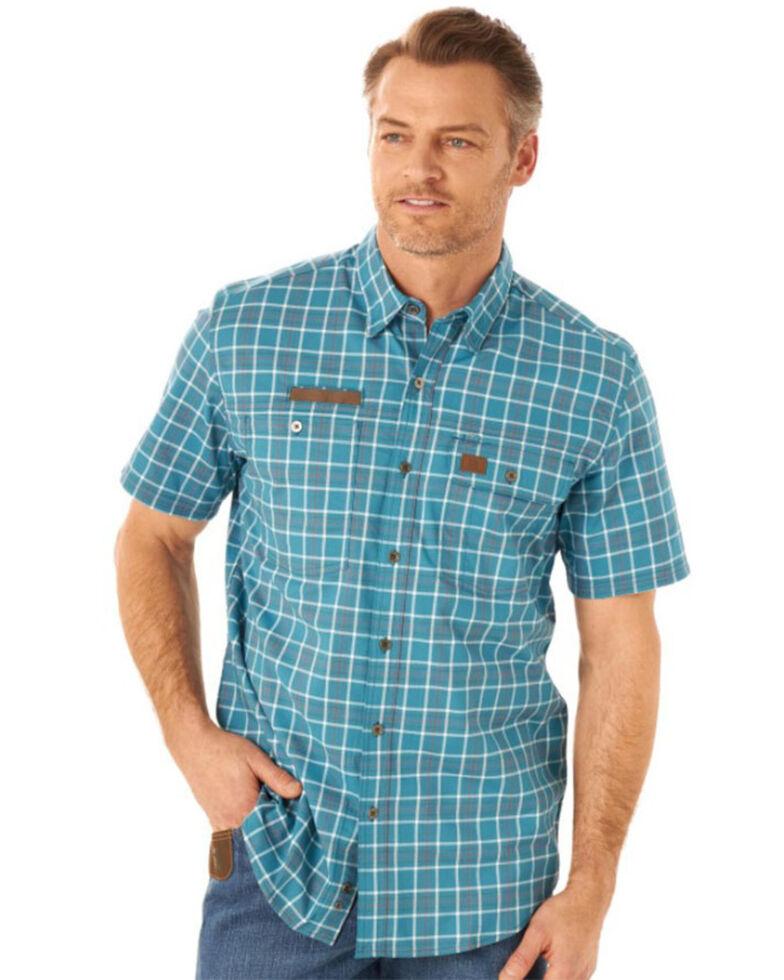 Wrangler Riggs Men's Blue Small Plaid Vented Short Sleeve Button-Down Work Shirt , Blue, hi-res