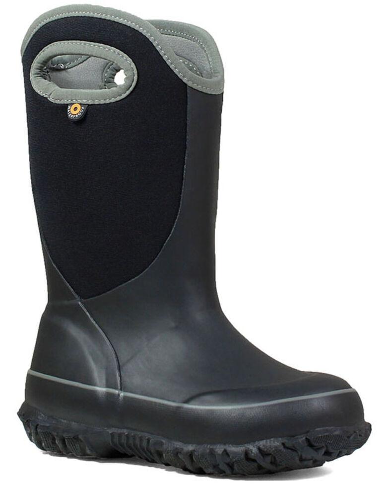 Bogs Girls' Slushie Solid Outdoor Boots - Round Toe, Black, hi-res