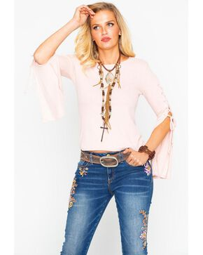Panhandle Women's Rib Lace Up Bell Long Sleeve Top , Blush, hi-res