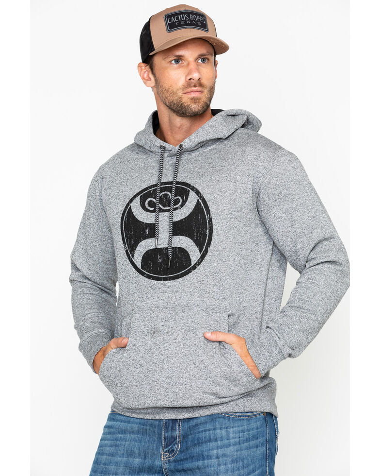 HOOey Men's Grey 2.0 Logo Hooded Sweatshirt, Heather Grey, hi-res