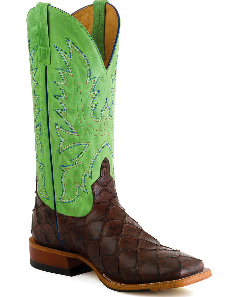 HorsePower Men's Chocolate Filet of Fish Print Western Boots - Square Toe , Chocolate, hi-res