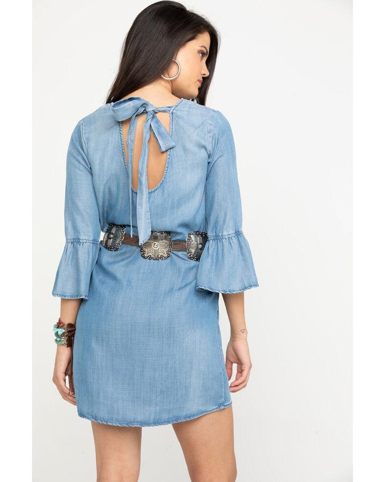 Stetson Women's Bell Sleeve Denim Dress, Blue, hi-res