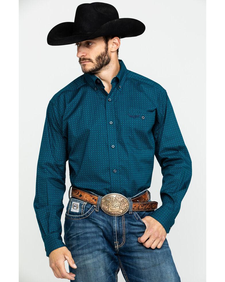 Ariat Men's Motivate Geo Print Long Sleeve Western Shirt , Turquoise, hi-res