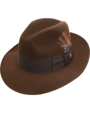 Stetson Men's Pinnacle Beaver Fur Felt Fedora, Brown, hi-res