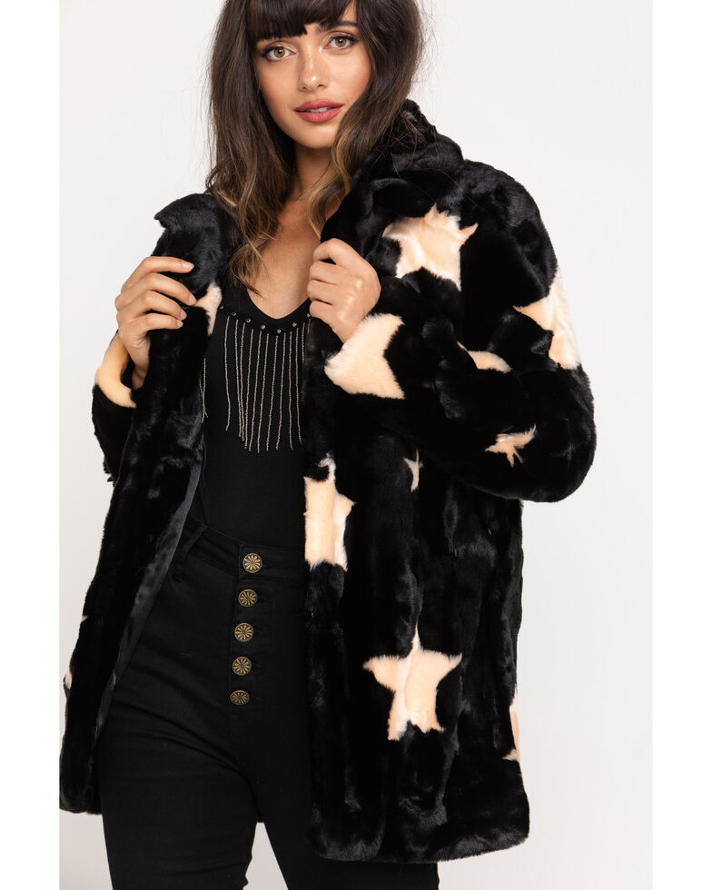 Show Me Your Mumu Women's Colorado Starry Daze Faux Fur Jacket, Black, hi-res