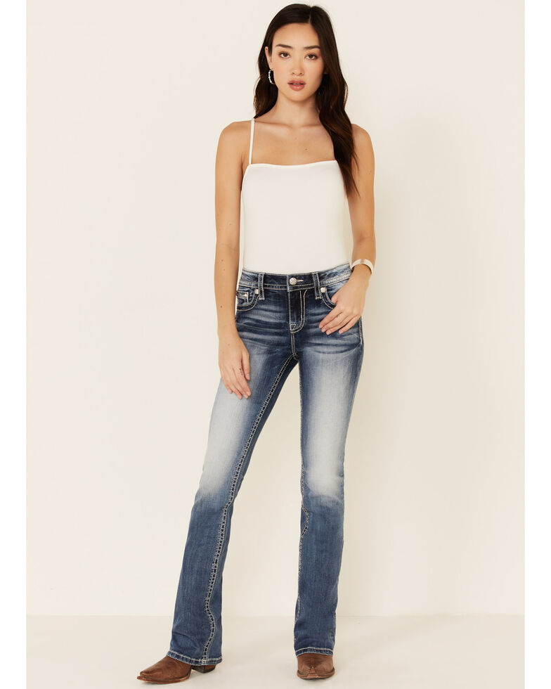 Miss Me Women's Winged Cross Chloe Bootcut Jeans, Blue, hi-res