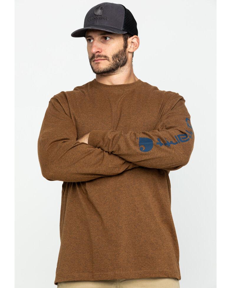 Carhartt Signature Logo Sleeve Knit T-Shirt, Brown, hi-res