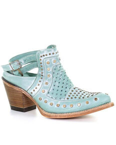 Corral Women's Turquoise Stud & Woven Mules - Snip Toe, Turquoise, hi-res