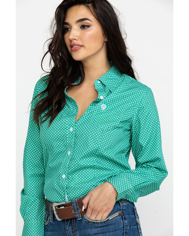 14c1bd72 Zoomed Image George Strait By Wrangler Women's Geo Print Button Front  Western Shirt , Green, hi-