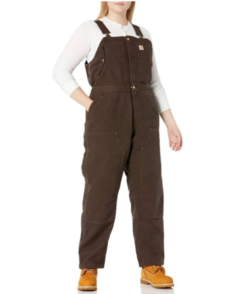 Carhartt Women's Weathered Duck Wildwood Bib Overalls - Plus , Dark Brown, hi-res