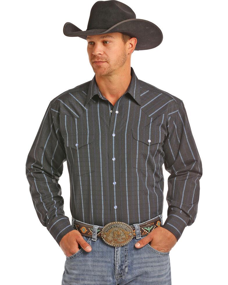 Panhandle Men's Dobby Stripe Long Sleeve Snap Shirt, Navy, hi-res