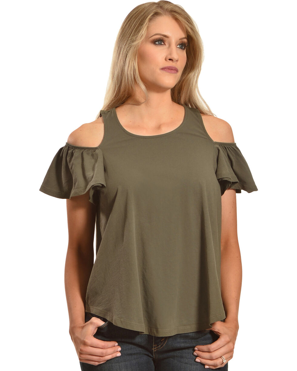 Others Follow Women's Green Cold Shoulder Tee , Green, hi-res
