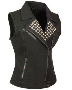 Milwaukee Leather Women's Studded Zip Front Denim Vest - 3X/4X, Black, hi-res