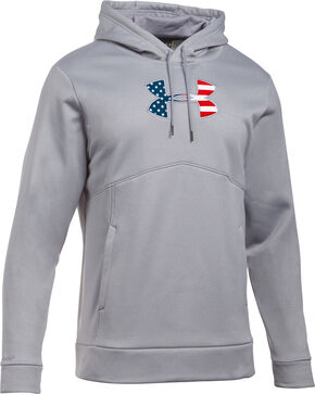 Under Armour Men's Grey Big Flag Logo Icon Hoodie, Grey, hi-res
