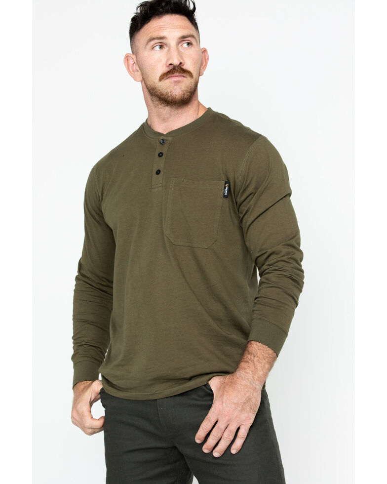 Hawx Men's Olive Pocket Henley Work Shirt - Big , Olive, hi-res
