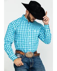 George Strait By Wrangler Men's Med Plaid Long Sleeve Western Shirt , Turquoise, hi-res