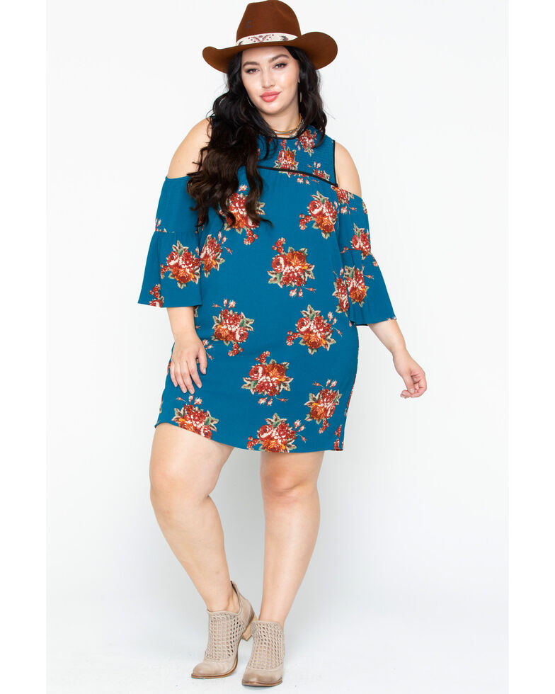 Flying Tomato Women\'s Floral Cold Shoulder Dress- Plus Size