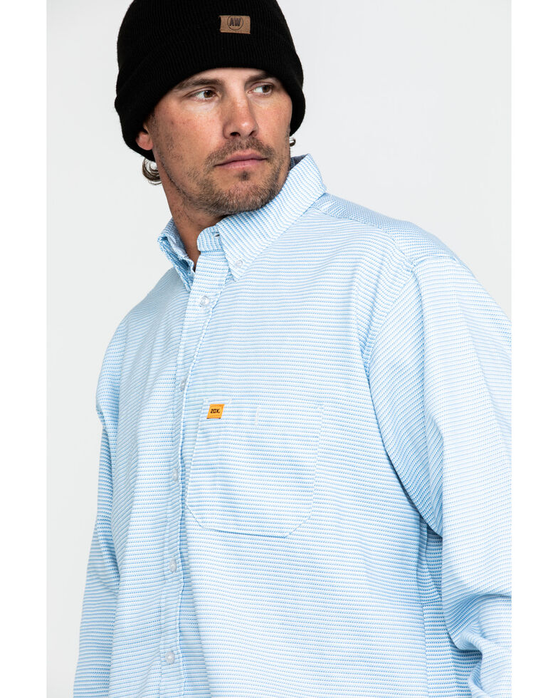 Wrangler 20X Men's FR Tonal Stripe Long Sleeve Work Shirt - Big , Blue, hi-res