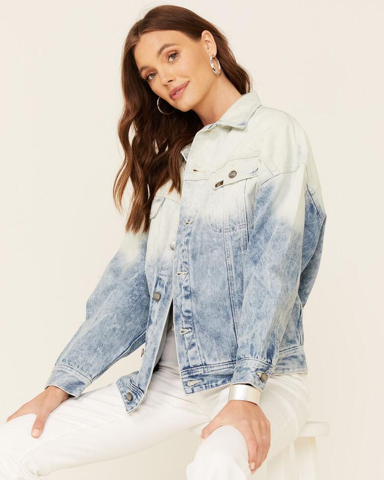 Lee Women's Light Acid Wash Oversized Denim Button-Down Trucker Jacket, Blue, hi-res