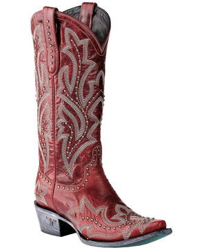 Lane Women's Saratoga Stud Western Boots - Snip Toe, Red, hi-res
