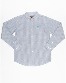 Ariat Boys' Randall Geo Print Button Long Sleeve Western Shirt , White, hi-res