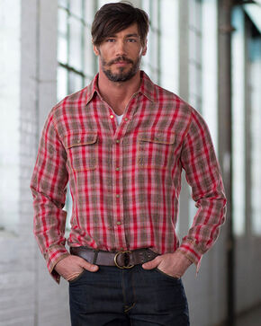 Ryan Michael Men's Ruby Ombre Plaid Shirt, Red, hi-res