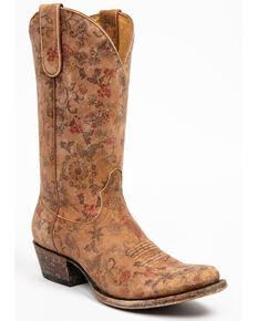 Shyanne Women's Estampada Ochre Kimono Western Boots - Round Toe, Brown, hi-res