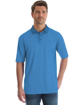 George Strait by Wrangler Men's Blue Performance Polo , Light Blue, hi-res