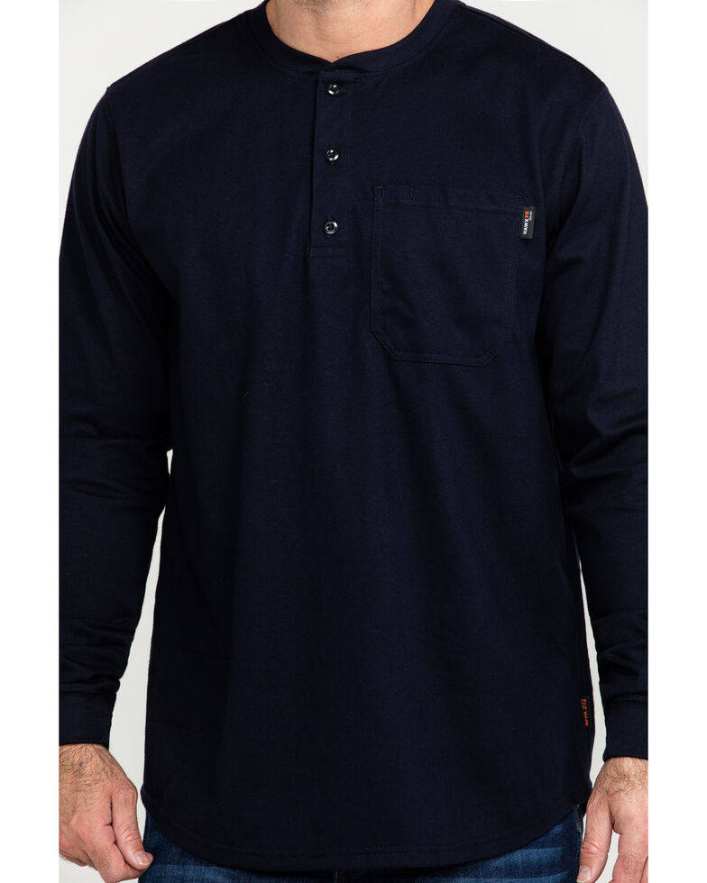 Hawx Men's Men's Flame Resistant Pocket Henley Long Sleeve Work Shirt, Navy, hi-res