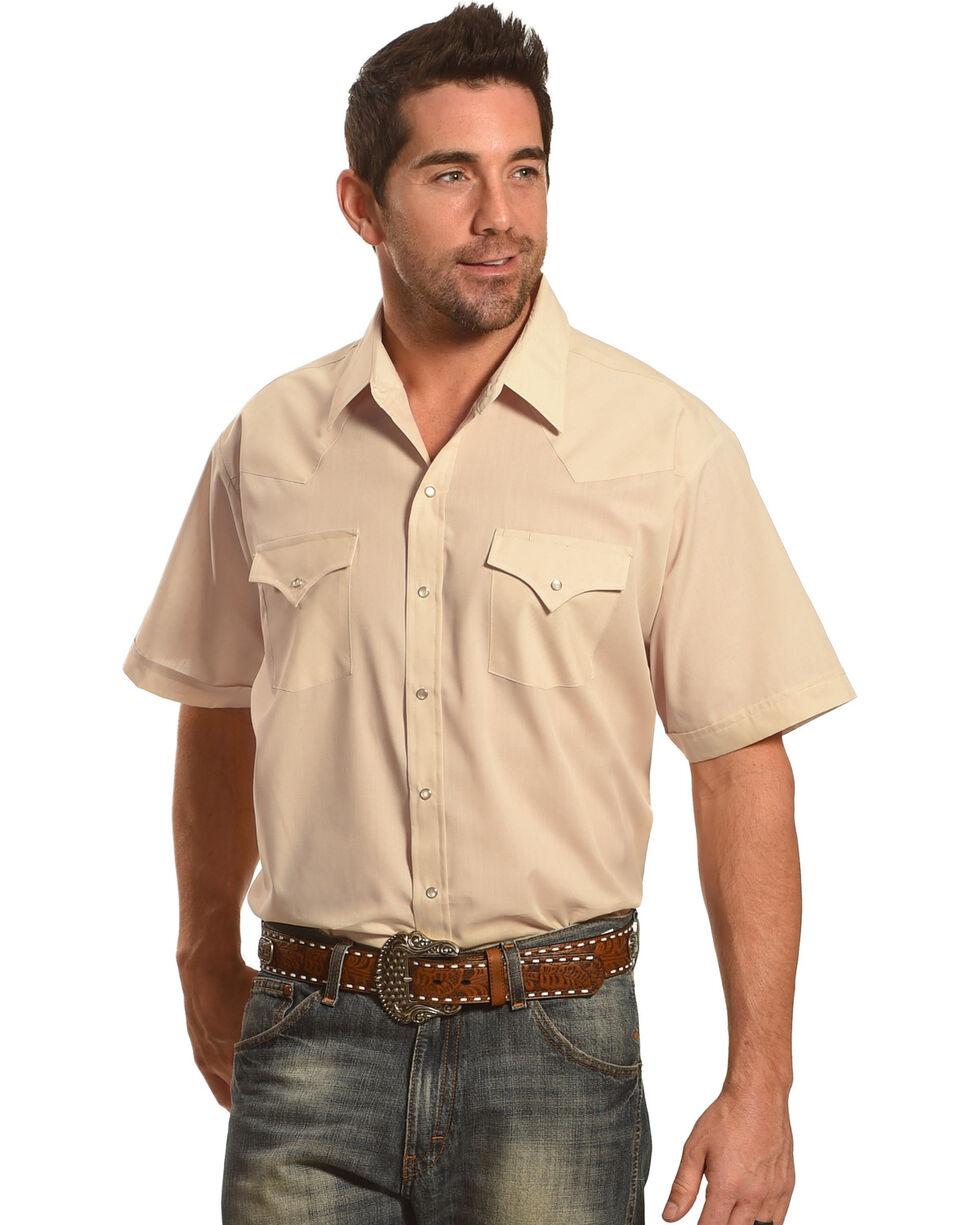 Ely Cattleman Men's Short Sleeve Solid Western Shirt - Big & Tall , Khaki, hi-res