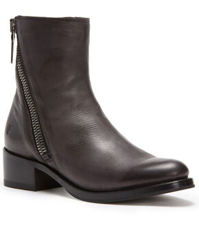 Frye Women's Dark Grey Demi Zip Booties - Round Toe , Dark Grey, hi-res
