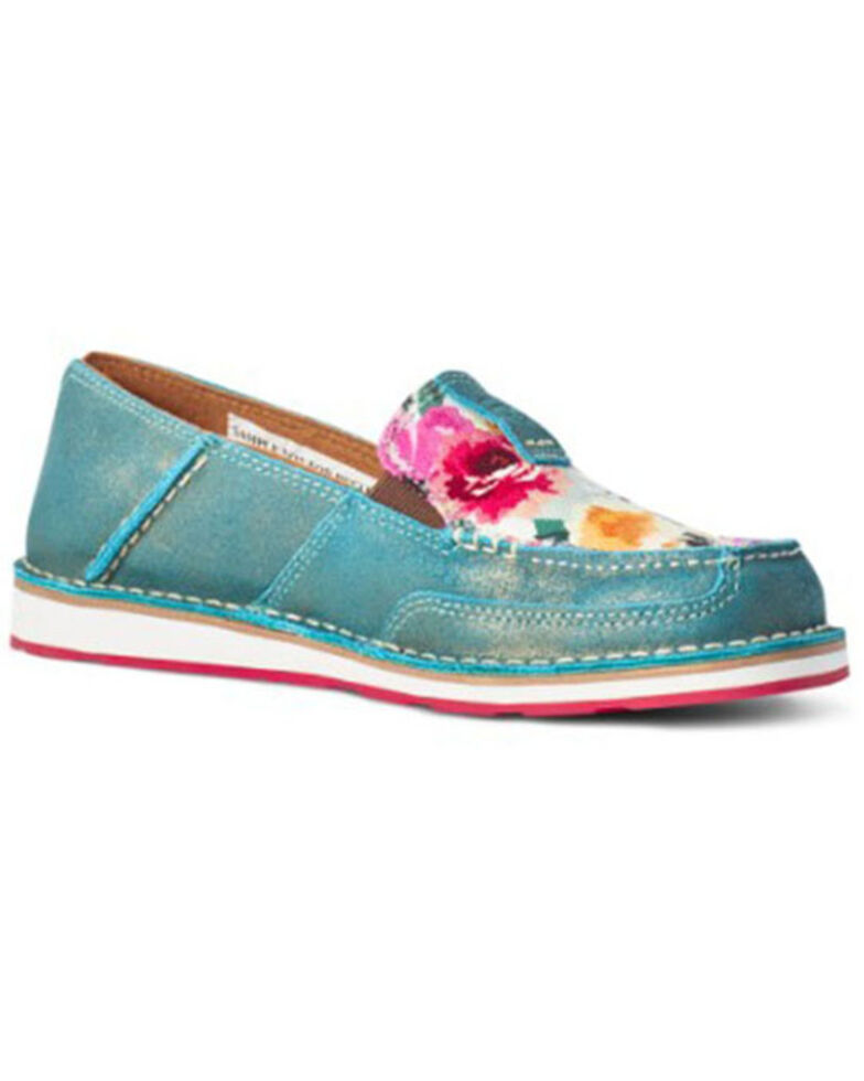 Ariat Women's Floral Cruiser Shoes - Moc Toe, Blue, hi-res