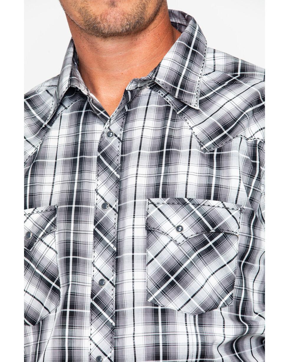 Wrangler Men's Med Plaid Snap Long Sleeve Western Shirt , Black, hi-res