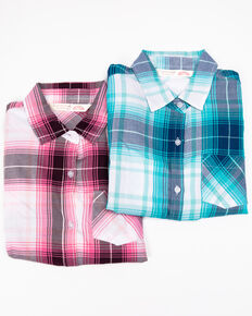 Cumberland Outfitters Girls' Assorted Front Tie Plaid Long Sleeve Western Shirt, Multi, hi-res