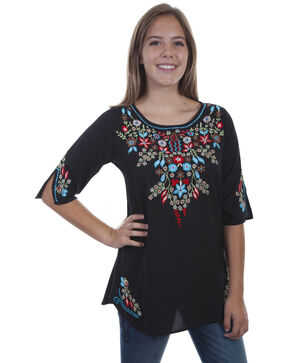 Honey Creek by Scully Women's Black Floral Embroidered Tunic, Black, hi-res