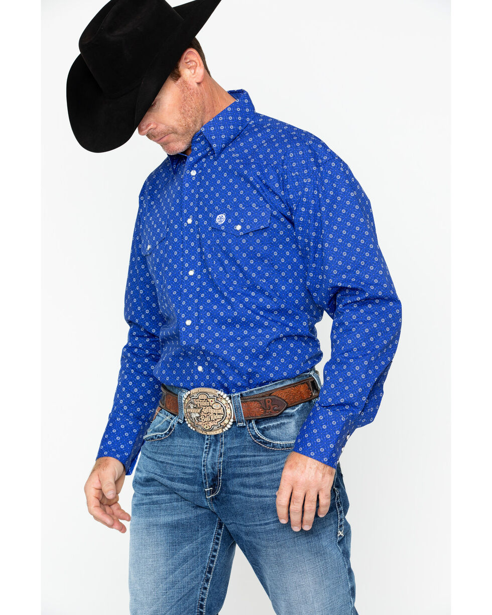 George Strait by Wrangler Men's Long Sleeve Troubadour Shirt , Blue, hi-res
