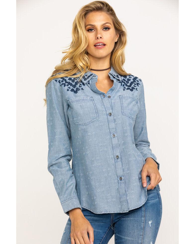 Ariat Women's Four Corners Long Sleeve Shirt, Blue, hi-res