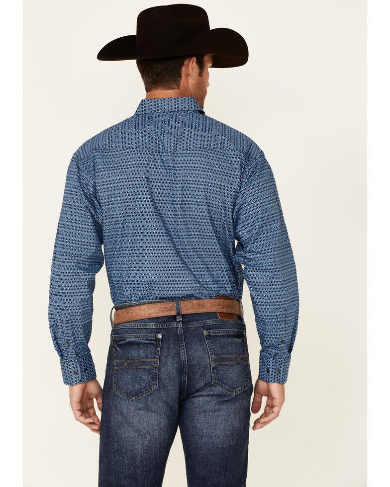 Panhandle Select Men's Blue Stripe Print Long Sleeve Button-Down Western Shirt, Blue, hi-res
