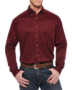 Ariat Men's Burgundy Solid Twill Long Sleeve Western Shirt - Big & Tall , Burgundy, hi-res
