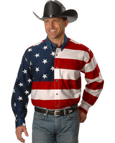 Roper Men's American Flag Long Sleeve Western Shirt, White, hi-res