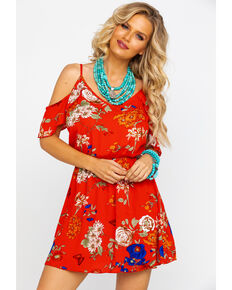 Red Label Panhandle Women's Red Floral Print Cold Shoulder Dress , Red, hi-res