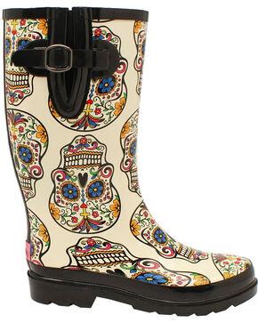 Blazin Roxx Women's Rocki Sugar Skull Rain Boots, White, hi-res