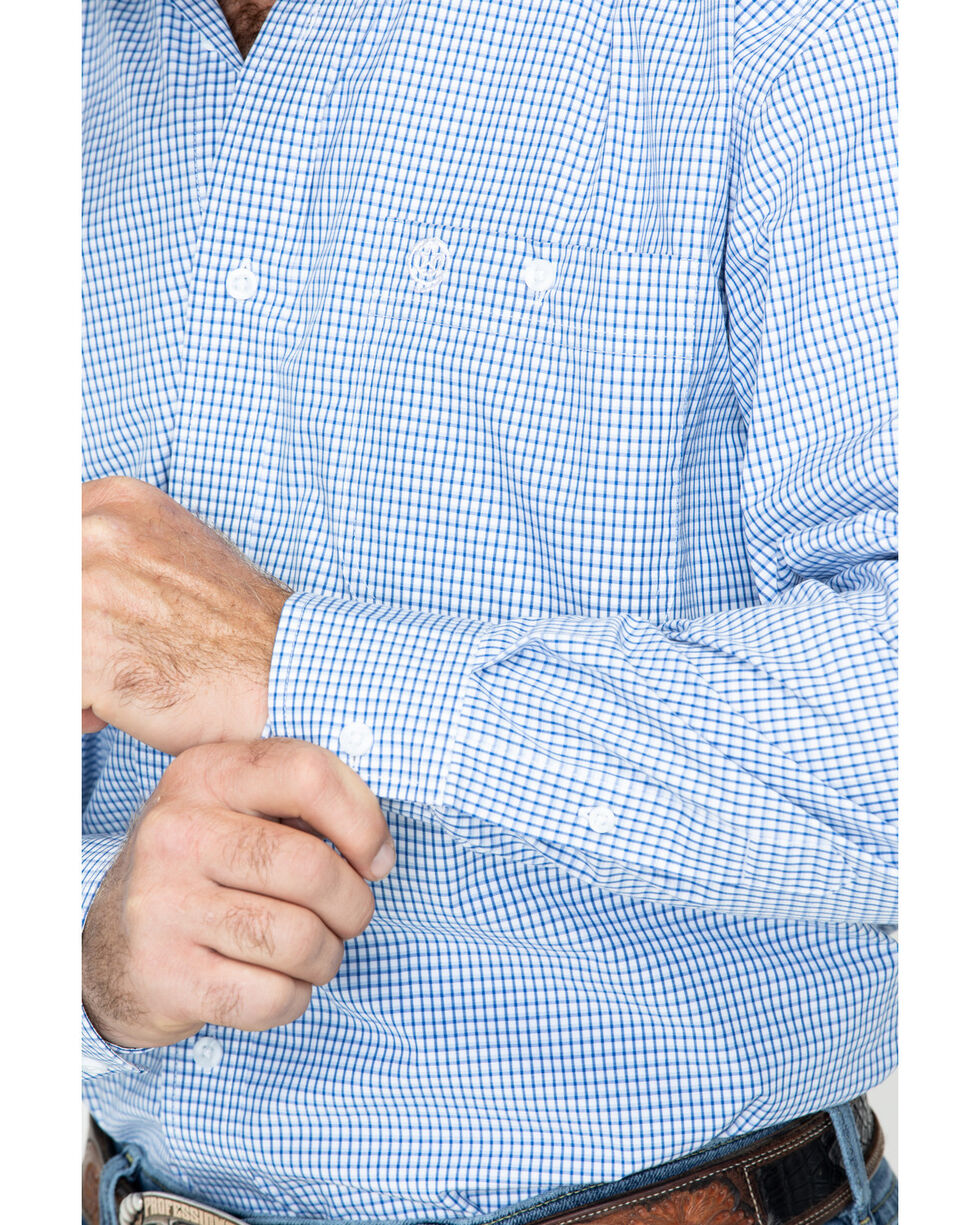 George Strait By Wrangler Men's Mini Check Plaid Long Sleeve Western Shirt - Big & Tall , Blue, hi-res