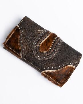 Shyanne Women's Tooled Metallic Hair On Wallet, Coffee, hi-res