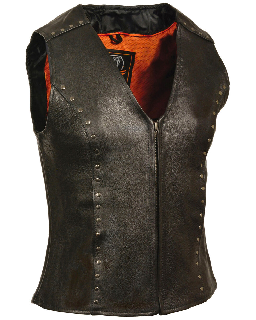 Milwaukee Leather Women's Studded Zip Front Vest - 4X, Black, hi-res